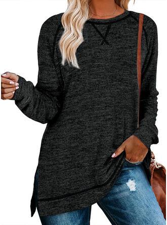 Solid rund hals Lange ærmer Sweatshirts