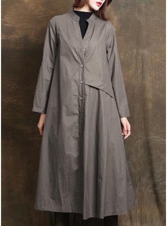 Bawełna Długie rękawy Jednolity kolor Trencz Płaszcze