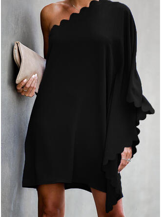Solid Long Sleeves/Batwing Sleeves Shift Above Knee Little Black/Sexy/Casual/Party Dresses