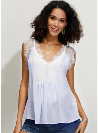 Lace V Neck Sleeveless Casual Blouses