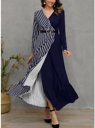 Patchwork Long Sleeves A-line Midi Casual Dresses