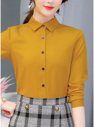 Solid Lapel Long Sleeves Button Up Casual Elegant Blouses