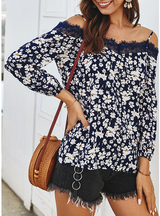 Print Floral Lace Cold Shoulder Long Sleeves Casual Blouses
