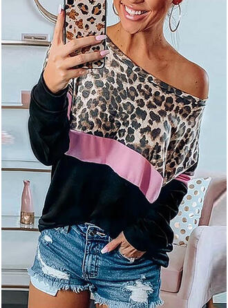 Leopard One-Shoulder Long Sleeves Casual T-shirts