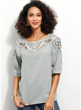 Lace Round Neck 1/2 Sleeves Casual Elegant Blouses