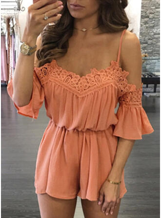 Lace Solid Spaghetti Strap Sleeveless Casual Romper