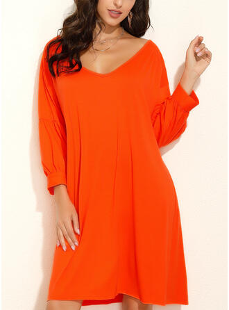 Solid 3/4 Sleeves/Lantern Sleeve Shift Knee Length Casual Tunic Dresses