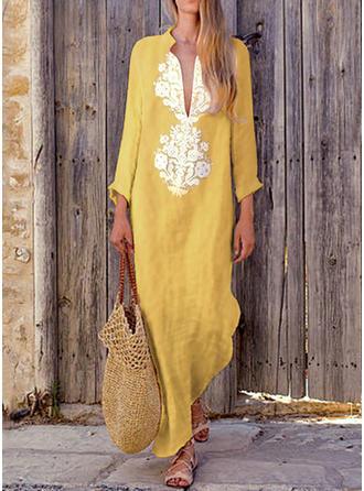 Long Sleeves Shift Maxi Casual/Boho/Vacation Dresses
