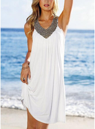 Patchwork Sleeveless Shift Above Knee Casual Dresses