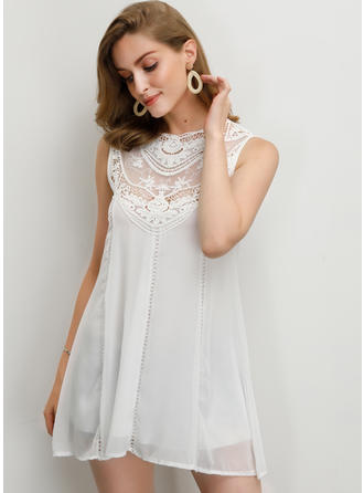Solid Lace Round Neck Sleeveless Casual Elegant Blouses