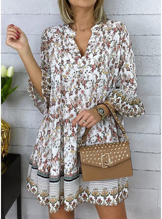 Print 3/4 Sleeves/Flare Sleeves Shift Above Knee Casual Dresses