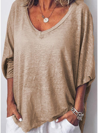 Solid V-neck 3/4 Sleeves Casual Knit T-shirts