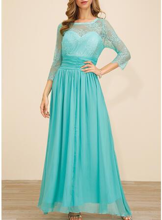 Koronka/Jednolita Rękawy 3/4 W kształcie litery A Przyjęcie/Elegancki Maxi Sukienki