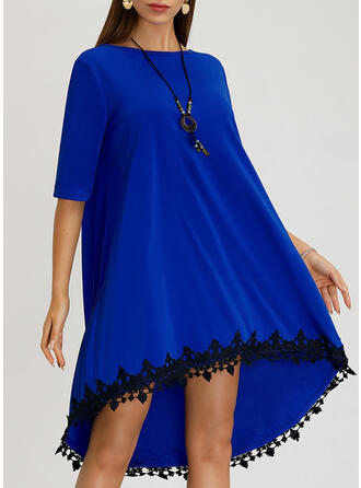 Lace Short Sleeves Shift Knee Length Casual Tunic Dresses