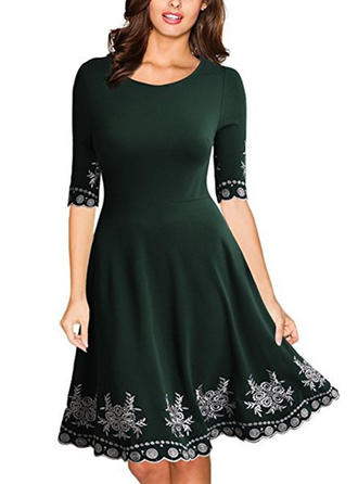 Print 1/2 Sleeves A-line Knee Length Casual/Elegant Dresses
