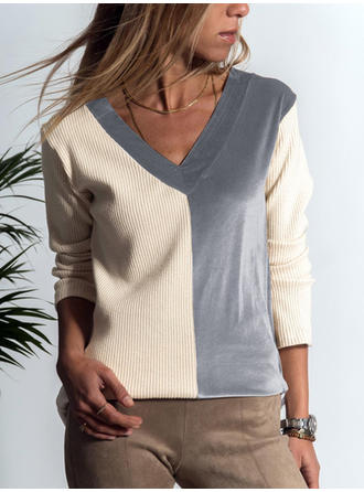 Patchwork V-Neck Long Sleeves Casual Knit Blouses