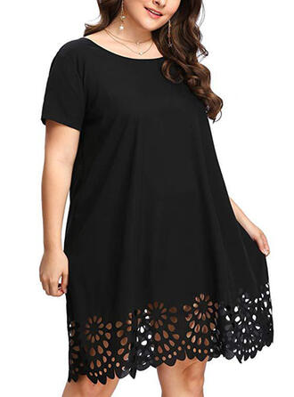 Lace/Solid Short Sleeves Shift Knee Length Casual/Plus Size Dresses