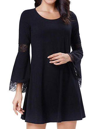 Lace/Solid Long Sleeves A-line Above Knee Little Black/Casual/Elegant Dresses