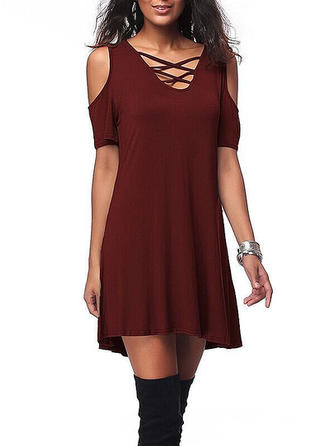 Cold Shoulder Sleeve Above Knee Dresses