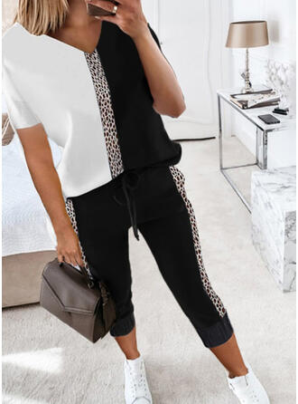 λεοπάρδαλη Χρώμα μπλοκ Ανέμελος Plus μέγεθος tee & Ρούχα Δύο Κομματιών Set ()