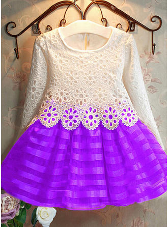 Girls Round Neck Lace Cute Flower Girl Dress