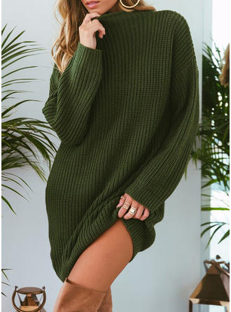 Plain Chunky knit Stand Collar Sweater Dress