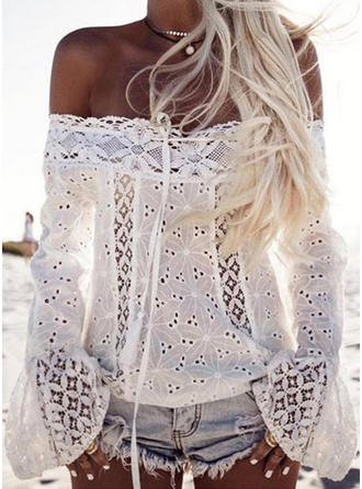 Solid Off the Shoulder Flare Sleeve Casual Sheer Blouses