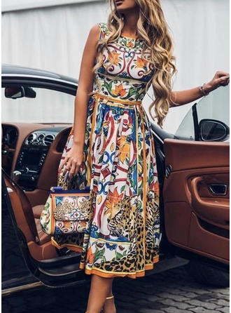 Print Sleeveless A-line Casual/Party/Elegant/Boho/Vacation Midi Dresses