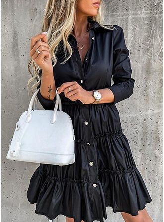 Solid Long Sleeves/Puff Sleeves A-line Above Knee Little Black/Casual Dresses
