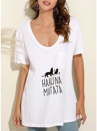 Animal Print V-Neck Short Sleeves T-shirts (1044357622)