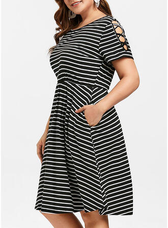 Striped Short Sleeves/Cold Shoulder Sleeve A-line Knee Length Casual/Plus Size Dresses