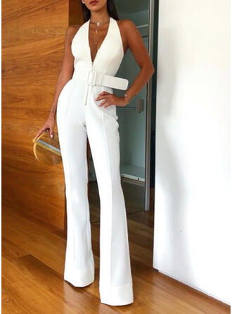 Solid Halter Sleeveless Casual Jumpsuit