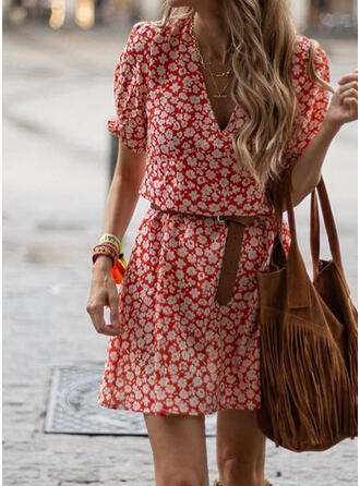 Print/Floral Short Sleeves/Puff Sleeves A-line Above Knee Casual Dresses