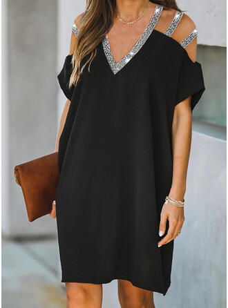 Sequins/Solid Short Sleeves/Cold Shoulder Sleeve Shift Knee Length Little Black/Casual Tunic Dresses