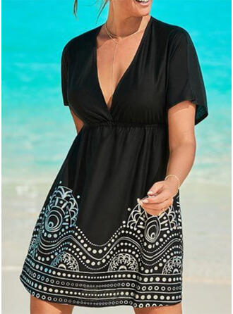 Print V-Neck Bohemian Plus Size Cover-ups Swimsuits