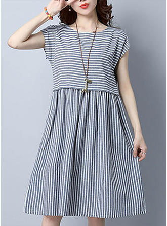 Striped Cap Sleeve A-line Knee Length Casual Dresses