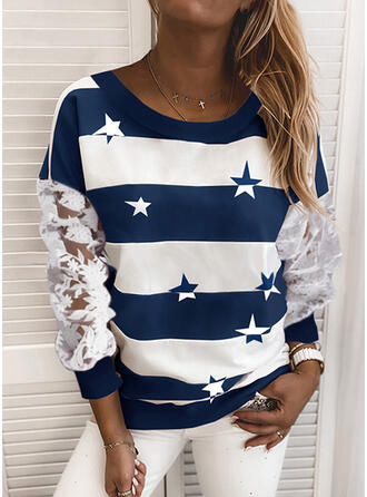 Print Color Block Blonder rund hals Lange ærmer Sweatshirts