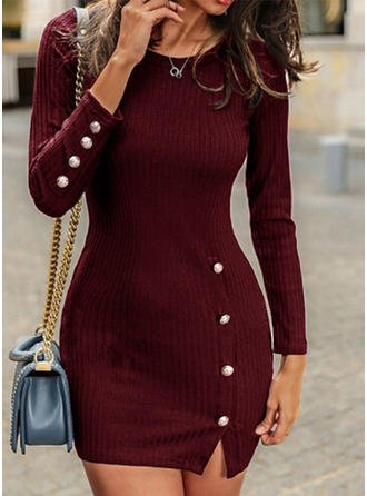 Solid Long Sleeves Bodycon Midi Casual Dresses