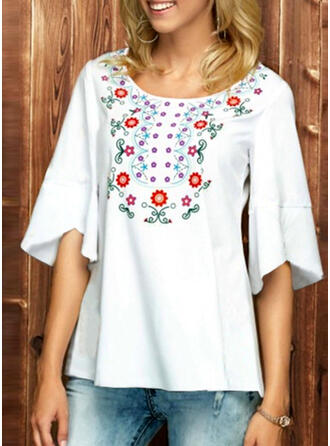 Print Floral Round Neck Flare Sleeve 1/2 Sleeves Casual Blouses