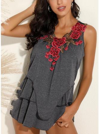 Bordados Floral Decote em V Sem Mangas Casual Camisetas regata