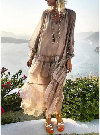 Long Sleeves Shift Maxi Casual/Vacation Dresses