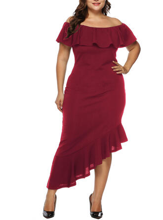 Solid Short Sleeves Sheath Asymmetrical Party/Plus Size Dresses