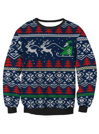 Unisex Polyester Print Reindeer Christmas Sweatshirt