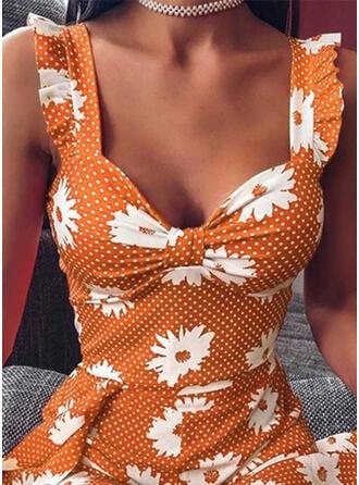 Nadrukowana/Kwiatowy/Groszki Bez rękawów W kształcie litery A Nad kolana Casual/Wakacyjna Sukienki