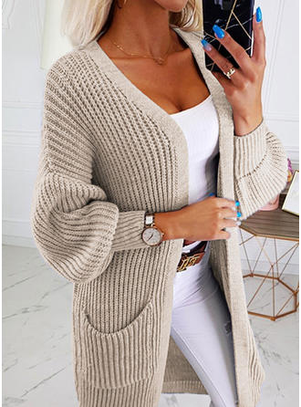 Solid Chunky knit Pocket Sweaters