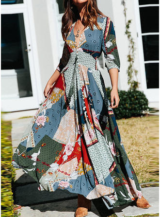 Print/Floral/Patchwork 3/4 Sleeves A-line Maxi Casual/Boho/Vacation Dresses