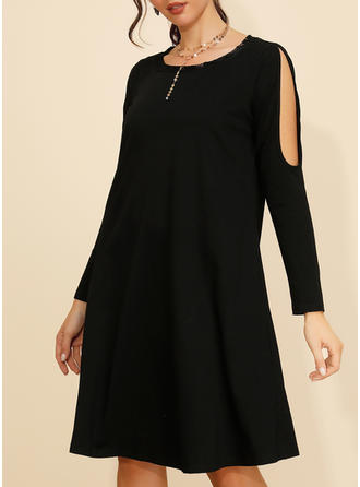 Solid Long Sleeves/Cold Shoulder Sleeve Shift Knee Length Little Black/Casual Dresses