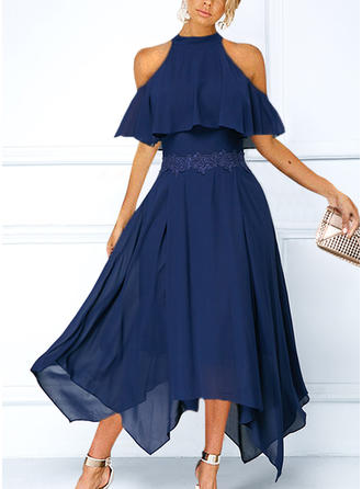 Lace/Solid Cold Shoulder Sleeve A-line Asymmetrical Party Dresses