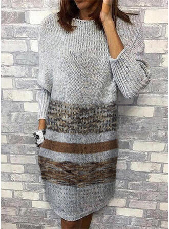 Print Round Neck Casual Long Sweater Dress