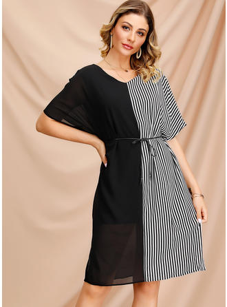 Striped/Patchwork 1/2 Sleeves/Batwing Sleeves A-line Knee Length Casual/Elegant Dresses